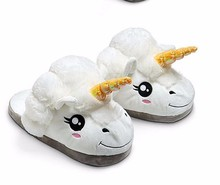 Fashion DreamShining Women Men Plush Unicorn Slippers Cosplay Chaussons Licorne Cotton Funny Home Soft Shoes With Heel Pantufas