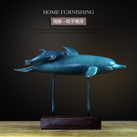 Blue Creative resin dolphin statue office home decor crafts room decoration objects vintage study parlor resin animal figurines