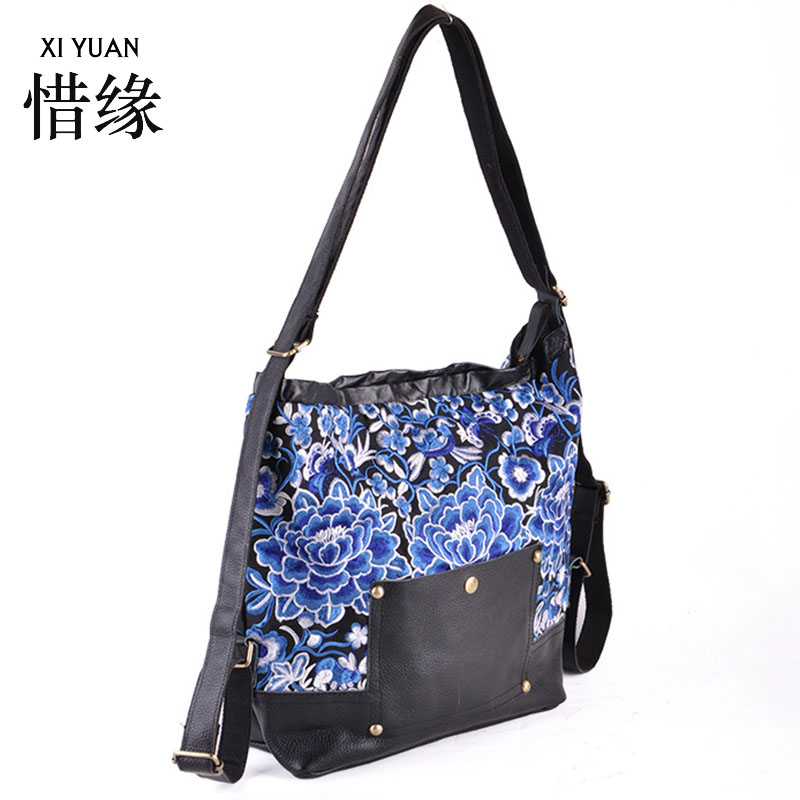 XIYUAN BRAND high quality leather vintage ethnic flowers embroidery embroidered bags backpack