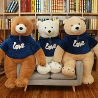 90cm Polar bear with Sweatshirt Teddy Bear Plush Toys Soft Teddy Bear Popular Birthday & Valentine's Gifts For Girls Kid's Toy