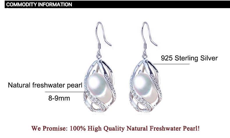 ZHBORUINI Pearl ต่างหูลูกปัดหยดต่างหูไข่มุกน้ำจืดธรรมชาติ 925 เงินสเตอร์ลิงเครื่องประดับสำหรับผู้หญิงกรงขายส่ง
