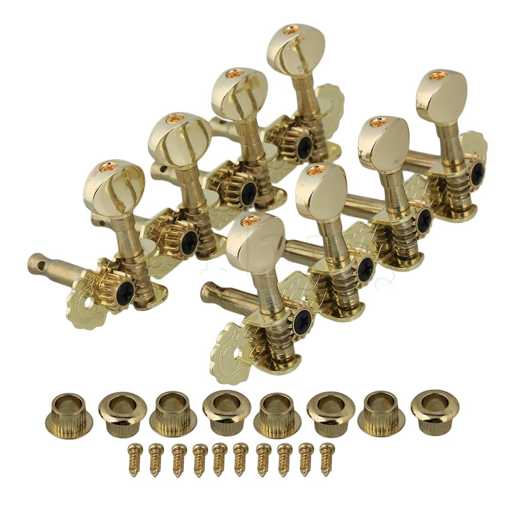 yibuy gold mandolin machine heads tuning pegs metal button set