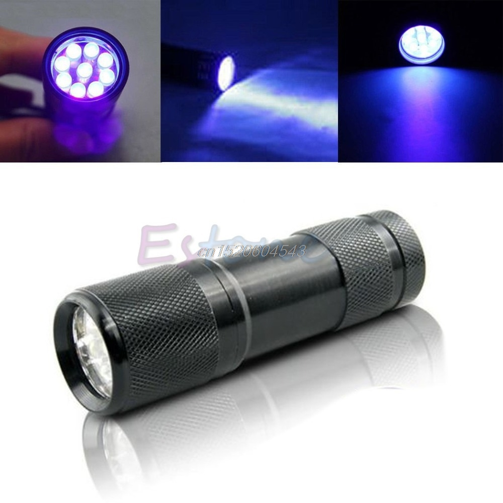 New Mini Detection 9 LED UV Ultra Violet Blacklight Flashlight Torch Light Lamp R06 Whosale&DropShip