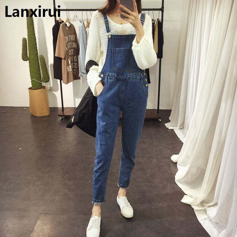 New Women Ripped Denim Jumpsuits Casual Sexy Stretch Romper Simple Denim Pencil Overalls Stretch Slim Dungarees