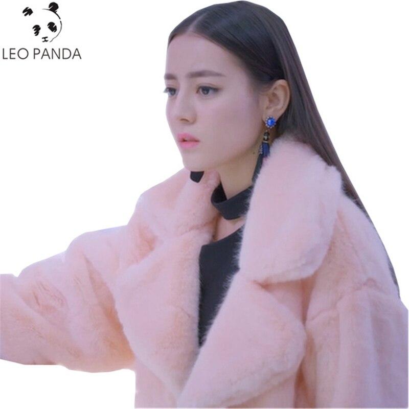 Winter Women Long Cotton Coat Faux Mink Fur Jacket Thick Plush Coat Female Hairy Overcoat Fluffy Warm Outerwear Plus Size SUN65