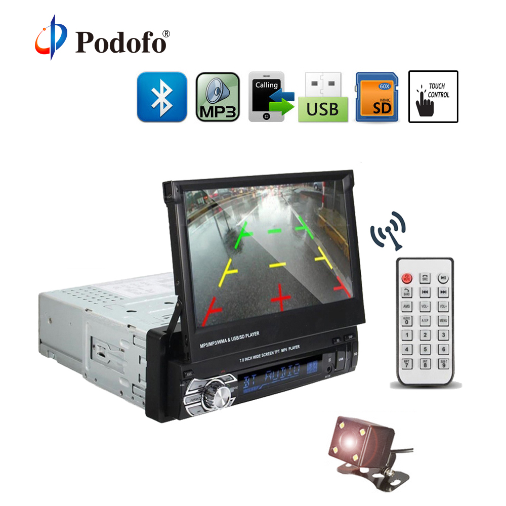 Podofo 1DIN 7 HD Car Radio Retractable Touch Screen Bluetooth DVD MP5 SD FM USB Stereo Audio Player Support Rear View Camera
