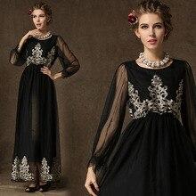 Summer Abaya turkish women Muslim clothing exquisite mesh dress Islam robe musulmane Dubai Kaftan lady Long dresses Black