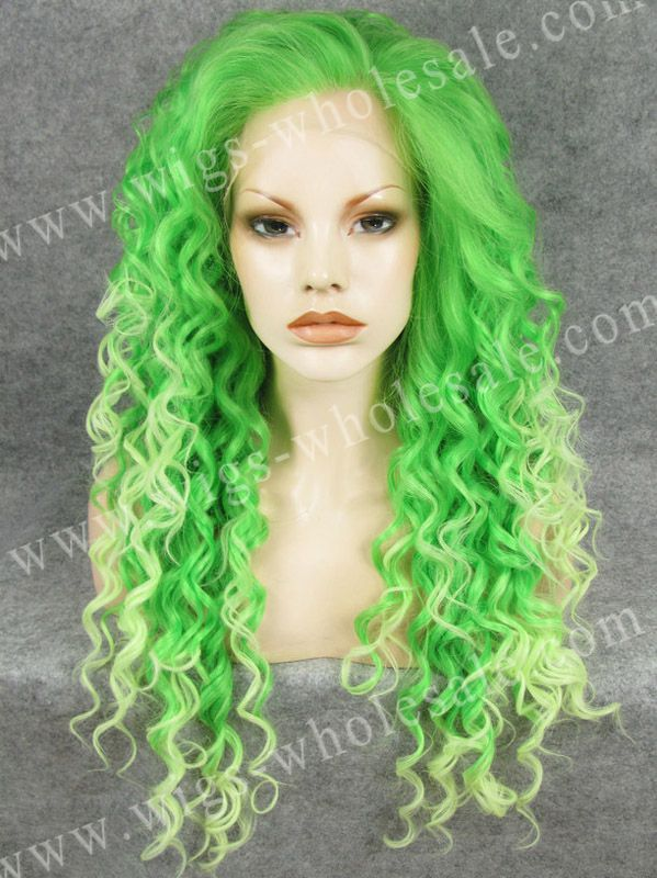 ФОТО Party Queens Wigs Curly Green Two Tone Lace Front Wig Synthetic