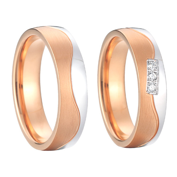 2015 nuevo diseño hermoso privado color oro rosa alianzas anillo de promesa para parejas conjuntos para aniversario de boda - 2