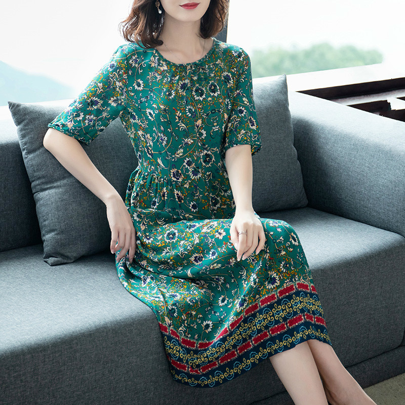 0130 Summer Green Floral Printed Silk Dress Female Short Sleeve O neck Slim Plus Size 3XL Dresses For Women Thin Clothes Lady in Dresses from Women 39 s Clothing