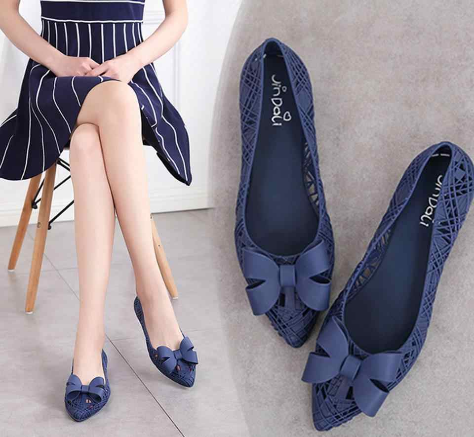 96bd6c8614f2 2019 summer women nest bowknot jelly shoe lady shallow flat bottom  breathable sandals female hollow out