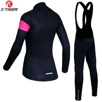 X-Tiger Anti-UV Autumn Cycling Clothing 100% Polyester Cycling MTB Bicycle Clothes Long Sleeve Women Cycling Bike Jersey Set