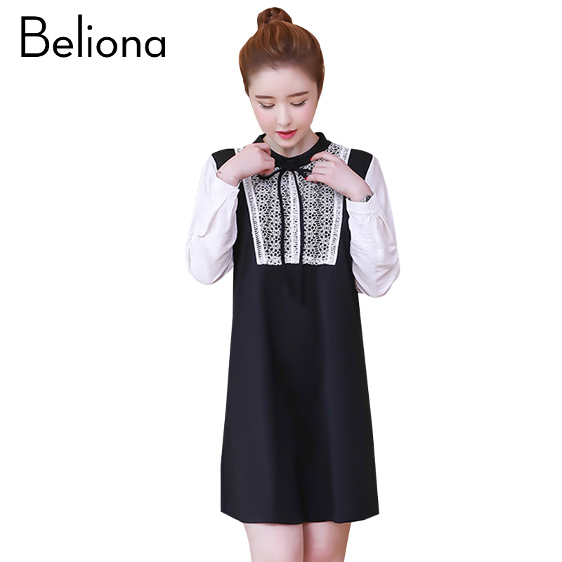 Spring Autumn Maternity-dress Lace Stitching Maternity Dresses for Pregnant Women Fashion Pregnancy Clothes Female Clothing