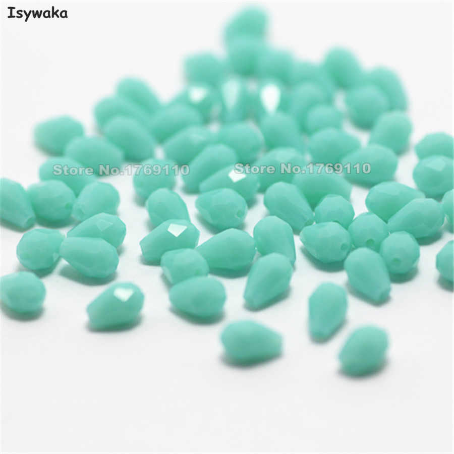 Isywaka 100pcs New Lake Blue Color Teardrop Beads Austria Crystal Beads Waterdrop Beads Loose Spacer Bead Jewelry Making,3x5mm