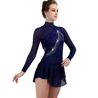 new custom color size figure skating dress woman kids girl adult crystal custom ice skating dress Long sleeve woman girl kids