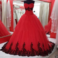 2016 Vintage Ball Gown Princess Black And Red Gothic Wedding Dresses Sweetheart 1960s Colorful Bridal Gowns
