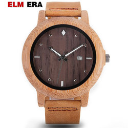 GNART zegarek mężczyźni godziny drewniane pogańskich projekt sport zegarki bambusa 22mm zespół drewna zegarek skórzana dla mężczyzn zegarek kwarcowy z data w Zegarki kwarcowe od Zegarki na