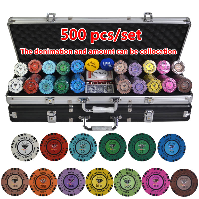 100-500PCS/SET 13.5g Diamond Poker Chips Sets Clay Casino Chips Poker Sets With Metal Box&Dealer&Dice&Table Cloth&Poker Card