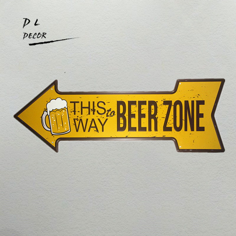 DL-This way beer zone arrow irregular tin sign bar posters for wall sticker man cave garage decor