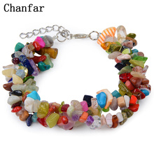 Chanfar Fashion Chip Beads Wrapped Natural Beads Bracelet Crystal Tiger Eye Bracelet With Lobster Clasp For