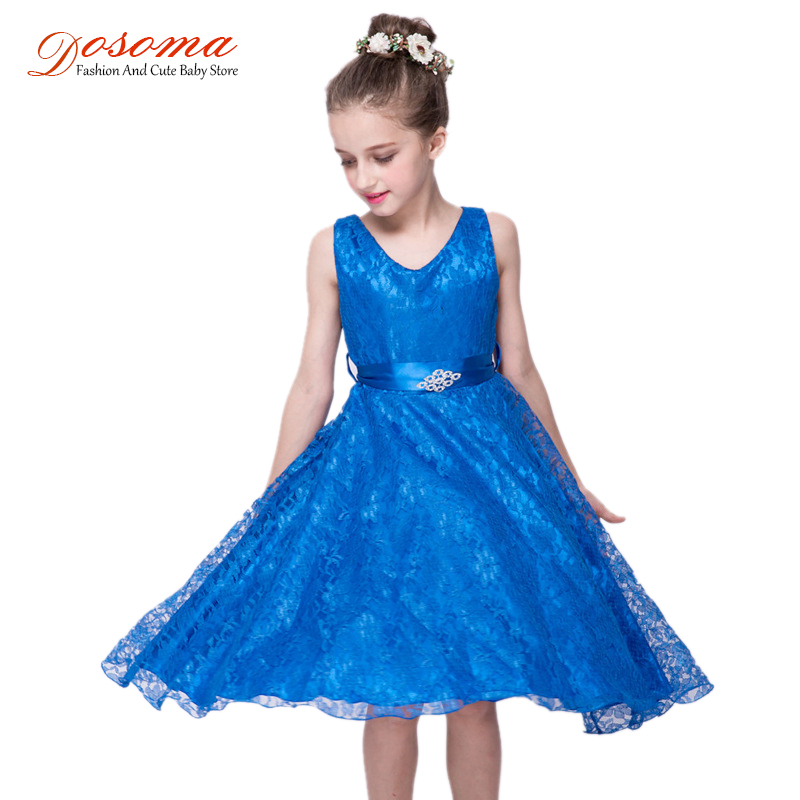 Kids Clothes Princess Dresses For Girls Fashion Costume Children's Sleeveless Diamond Belt Floral Dress Baby Wedding
