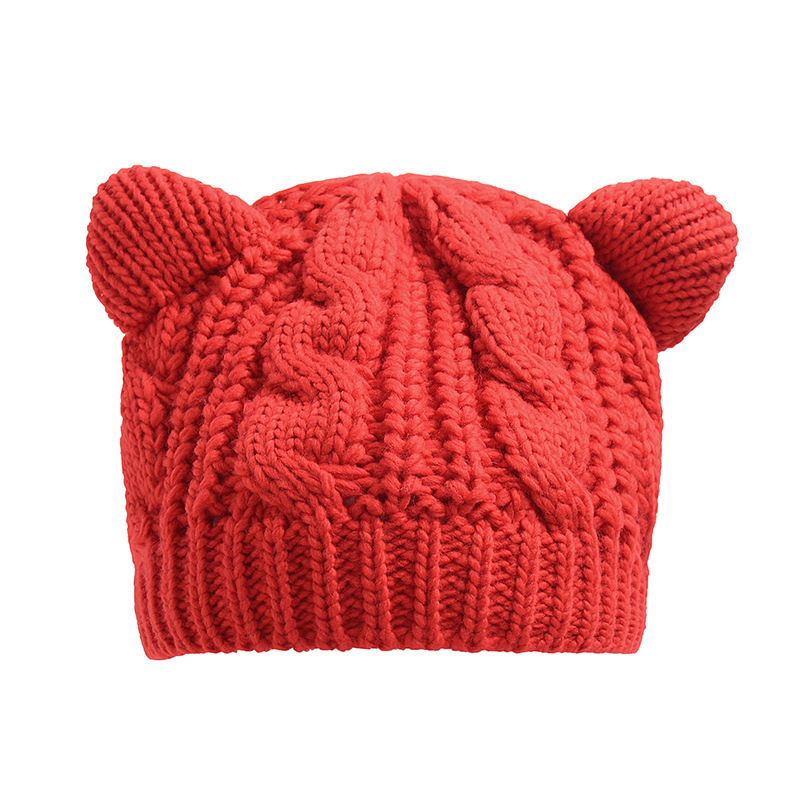 winter hats for women ladies Cat ear hat Beanies cute girls Solid Color Winter Knitted cap hip hop Skullies beanies gift