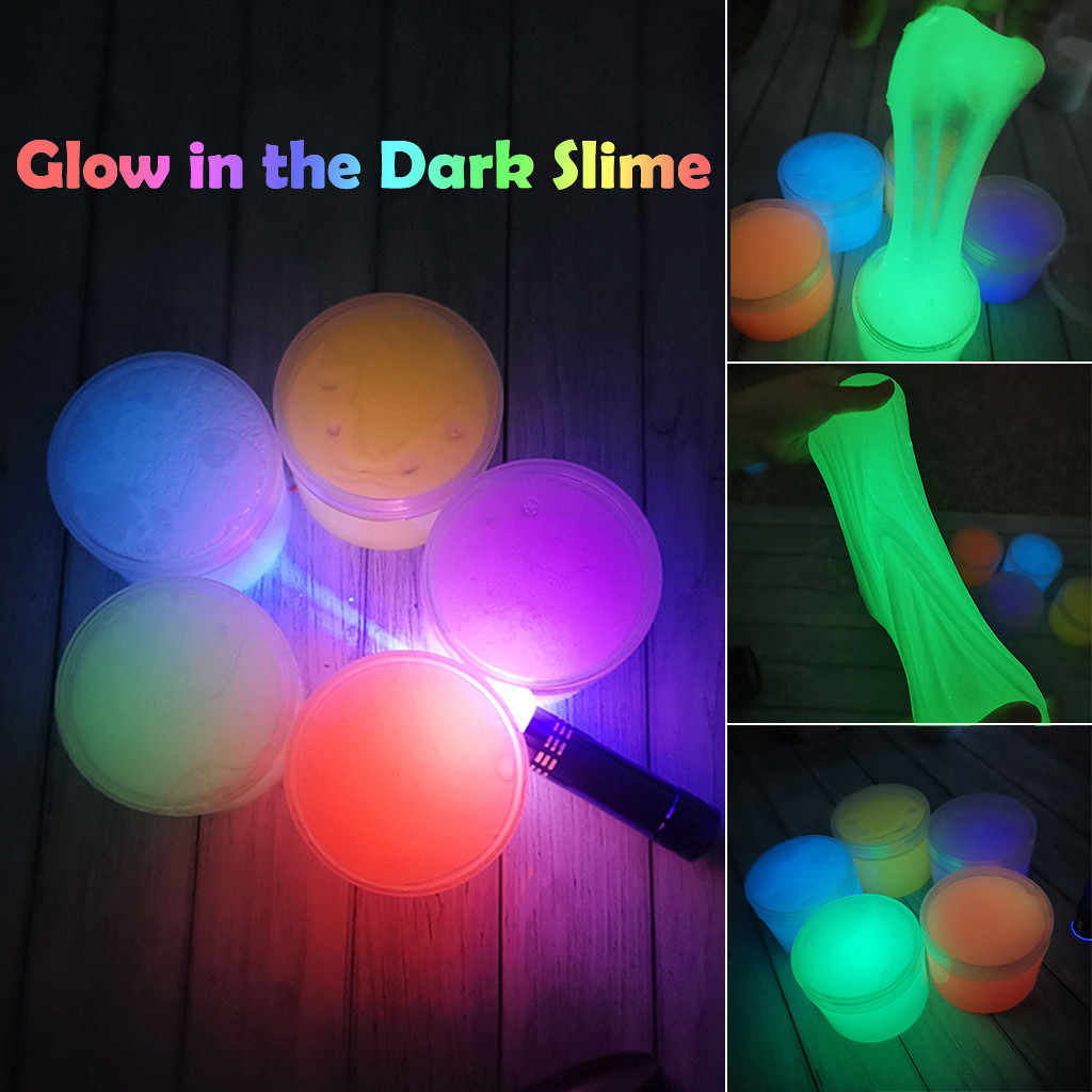 MUQGEW 300ML Glow In The Dark DIY Slime Fluffy Luminous Mud Scented Stress Relief Clay Toy DIY Slime Supplies Antistress Toys