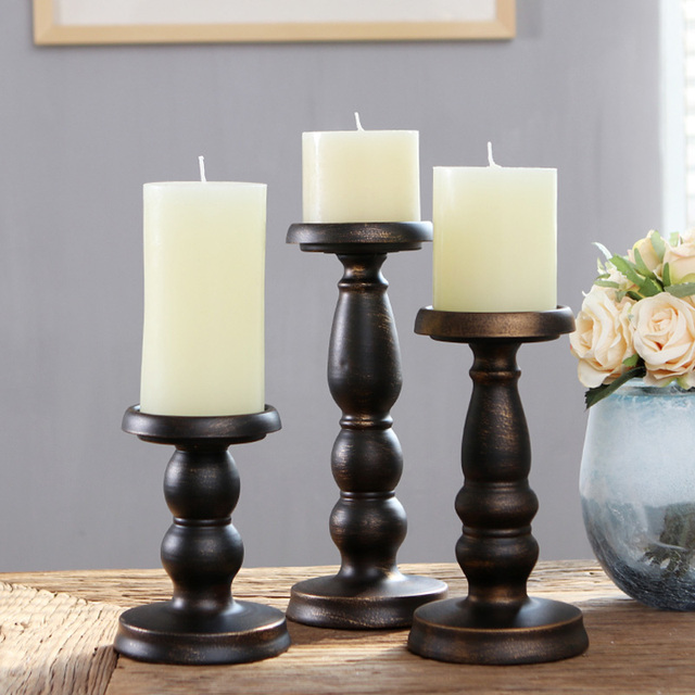 3 Sizes Iron Metal Cylinder Candle Holder Set Black White Pillar Candlestick Stand For Home