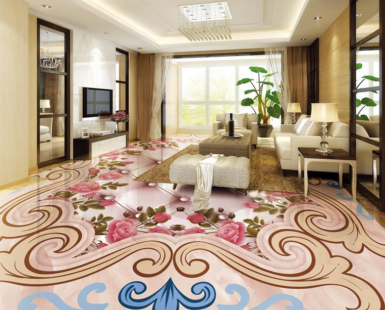 ФОТО 3d flooring waterproof wall paper custom 3d floor photo wallpaper Embossed rose 3d mural pvc floor wallpapers for living room