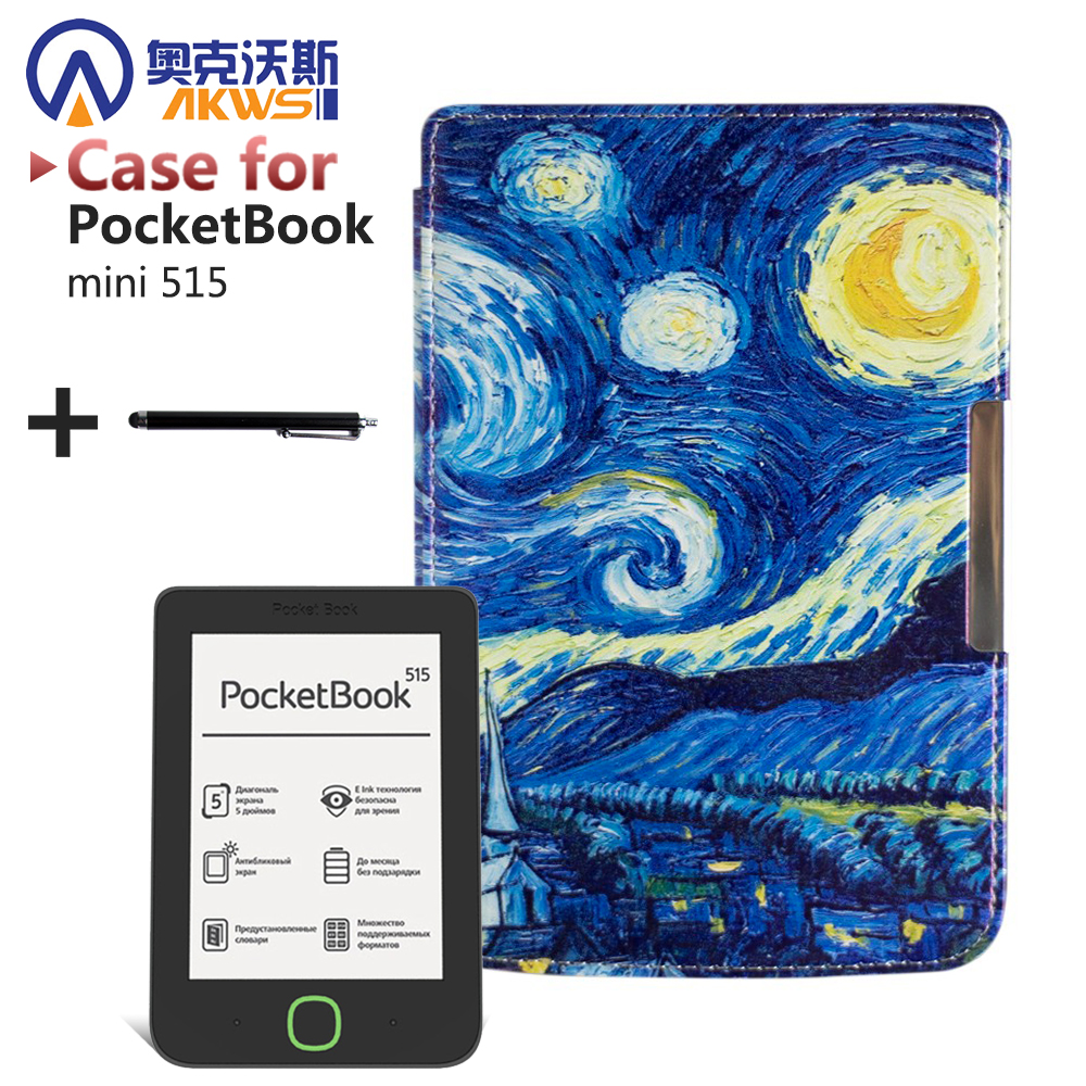 Folio PU leather cover case Magnetic art slim painting cover case for PocketBook mini 515 ereader+stylus pen as gift decorative cushion cover art flower painting pillow case