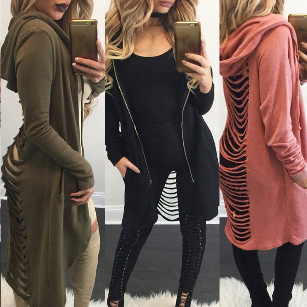 spring girls long hooded woman sweatshirt hotan style solid open stitch casual sleeve female