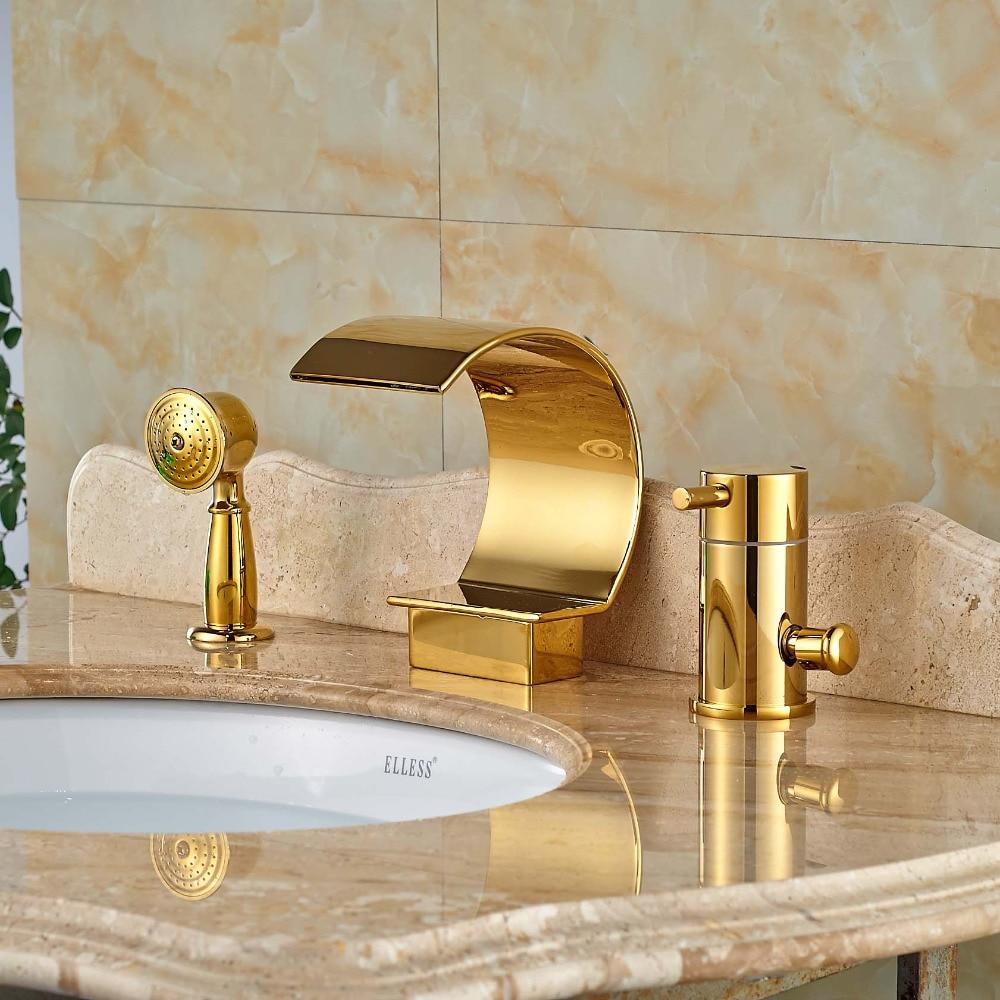 Single Handle 3Pcs Brass Bathroom Bathtub Sink Mixer Tap Basin Brushed Nickel Faucet Set Gold Finsh gold finsh swan handle widespread bathroom basin faucet dual mixer tap