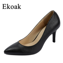 Ekoak Nuevos 2017 de las mujeres del dedo del pie puntiagudo Sexy tacones altos señoras bombas de las mujeres de piel de Oveja de Moda de Cuero Genuino suave mujer zapatos Hechos A Mano