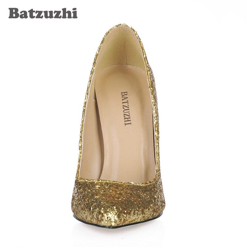Chaussures Batzuzhi De Paillettes Sexy Et 12 Haute Bout Femmes Cm Pour Italien Talons La Luxe Style Pointu Bling Partie Or Mariage Dames xrrndqIfwF