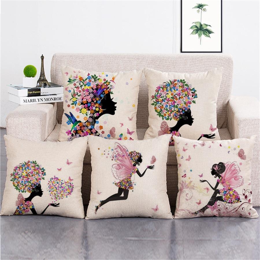 सोफे के लिए सुंदर लड़की फूल कपास लिनन कुशन कवर