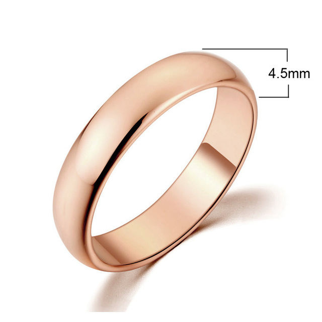 MOONROCY Jewelry Ring Rose Gold Color Silver Color Simple Promise Wedding Couples Rings for Man or Women Gift Drop Shipping