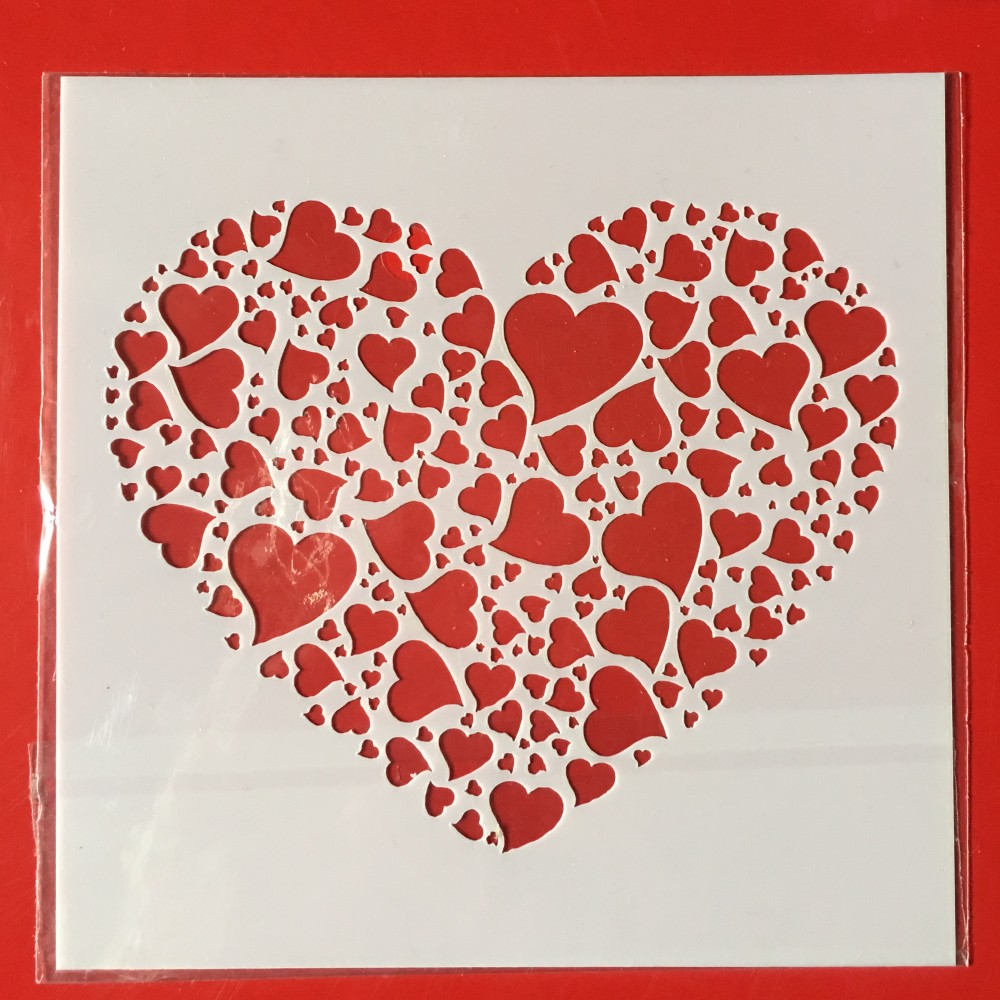 New 13cm Love Heart DIY Craft Layering Stencils Wall Painting Scrapbooking Stamping Embossing Album Paper Card Template F5173