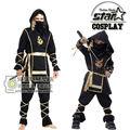 Familia Partido de Halloween Padre Fresco Hombres Niños Hijo Oro Negro Ninja Samurai Cosplay Para Funcionamiento de la Etapa Del Partido de La Mascarada
