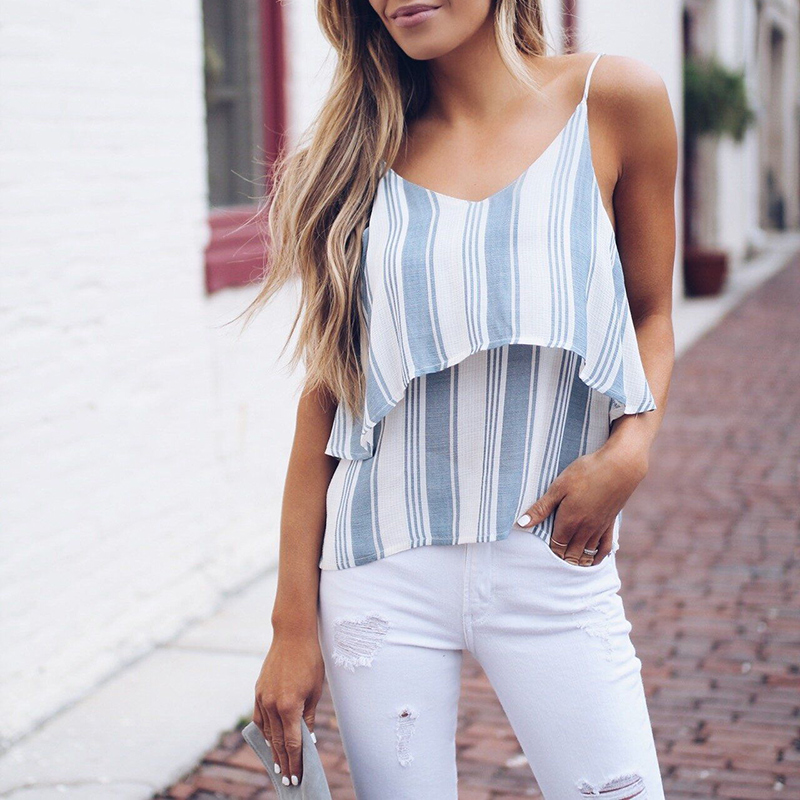 Women Shirt Crop Top Summer V Neck Striped Cami Top Women Spaghetti Strap Striped Camis Casual Women Sexy Backless Camisole Tops