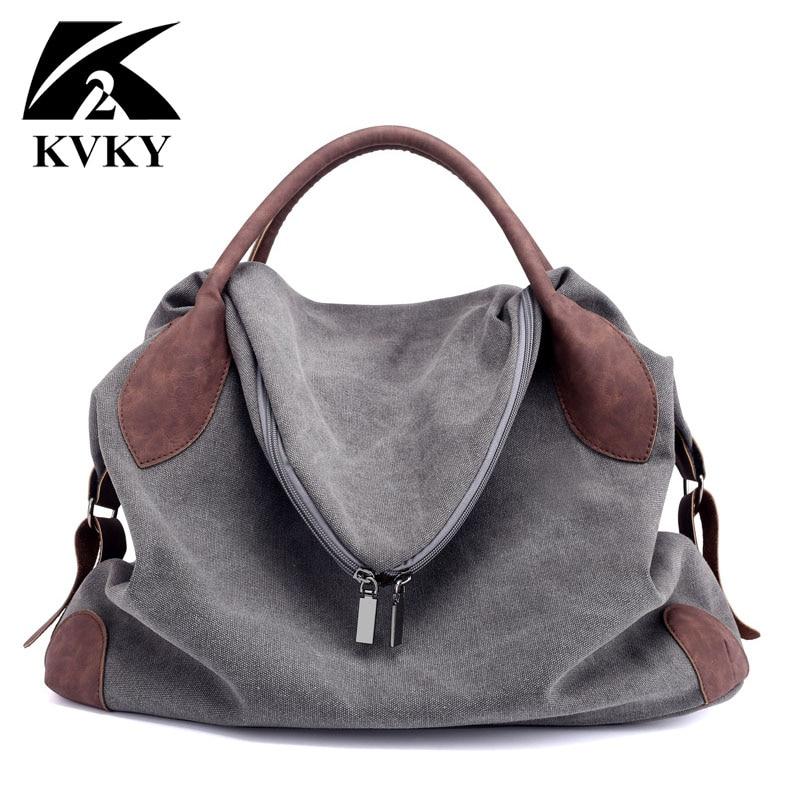 Canvas Handbag Casual Large Capacity Hobos Bag Female Totes Solid Shoulder Bag Anti-Theft Bag