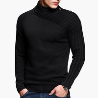 Autumn Winter New Men Sweater Casual Solid Knitted Mens Sweaters Long Sleeve O neck Slim Cotton Knitwear Pullover Men Size M 2XL