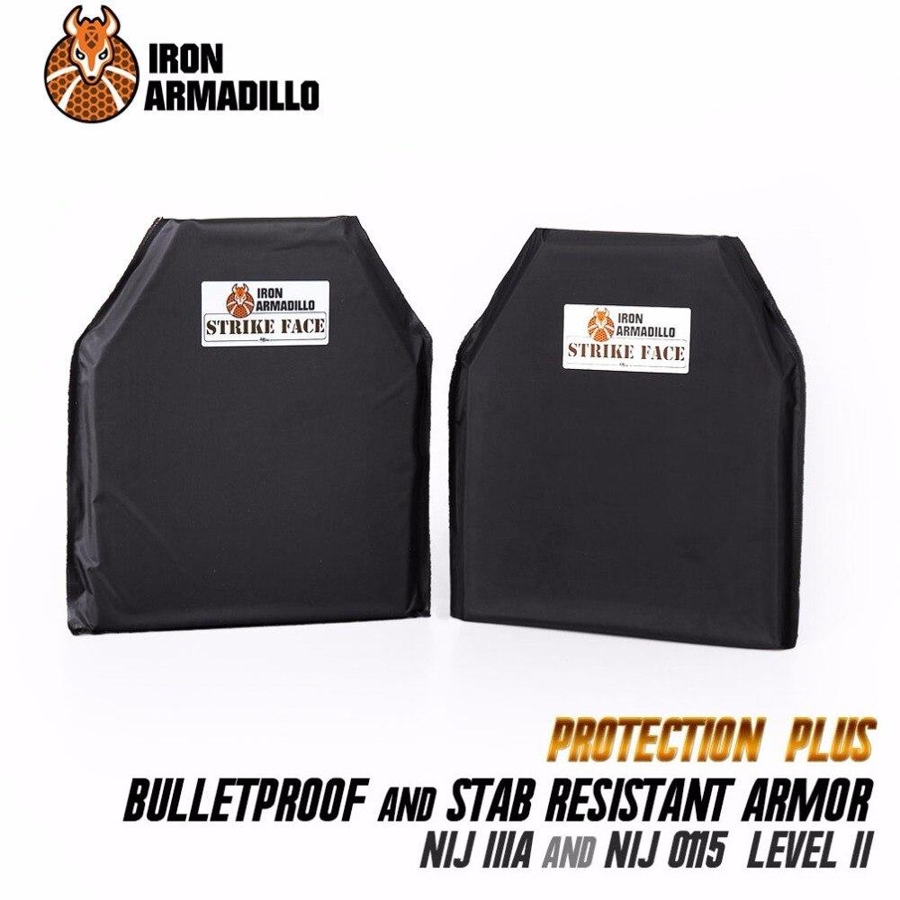 AA Bouclier Pare-balles et Stab Doux Body Armor Plaque aramide Core NIJ IIIA Lvl Stab Resistand Plaque Niveau II 10x12 #2 paire