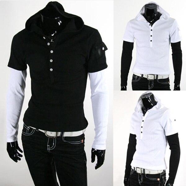 ᐂ2014 nueva marca para hombre con una capucha casual punto Camisas ...