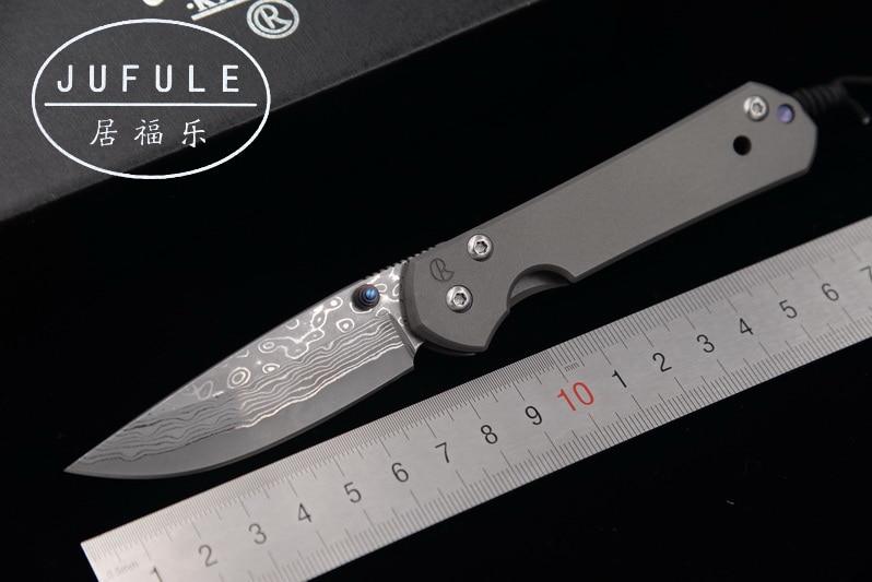 JUFULE 2018 Made Small Sebenza Damascus pattern blade titanium handle folding pocket camping hunt outdoor EDC