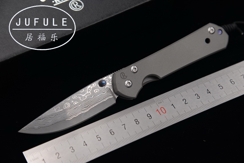 JUFULE 2018 Made Small Sebenza Damascus pattern blade titanium handle folding pocket camping hunt outdoor EDC tool kitchen <font><b>knife</b></font> image