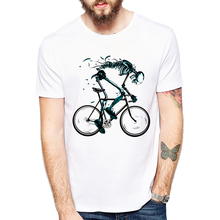 Worn out Bikes T-shirts Men Funny Skeleton bicycle Design Short Sleeve O-neck Tshirts Fashion Sku'l'l Style Tops Tees(China)