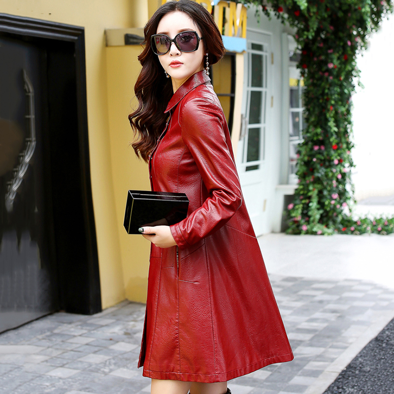 3xl Casual Taille La Mode Élégante 2018 En M Lady red Xy233 Poitrine Veste Rouge Black vent grass Nouveau Cuir Artificielle Femme Plus Green gray Coupe Unique Automne 5qtwpqU