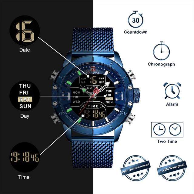 Reloj Resistente al agua con pantalla dual Digital de Cuarzo y Acero Inoxidable, para Hombre