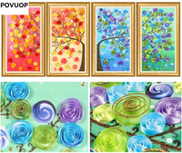 POVUOP Ribbon embroidery painting 70X40cmX4 happy tree three dimensional embroidery paintings 4 pcs a set