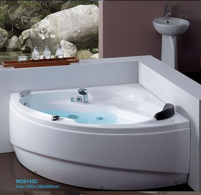 Fiber Glass Acrylic Whirlpool Bathtub Wall Corner MountedTriangular Apron  Hydromassage Tub Nozzles Spary Jets Spa RS613D4
